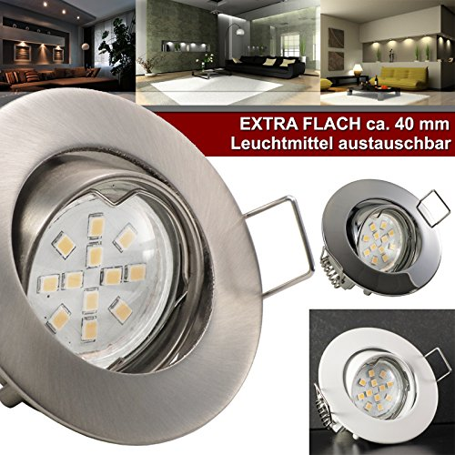 3er Set (3-8er Sets) Einbaustrahler PICCO extra flach geringe Einbautiefe ca. 3 cm; LED 2,0 Watt (210 Lumen) Warm-Weiß; 12V inkl. Trafo; WEISS (auch in Chrom, Edelstahl)
