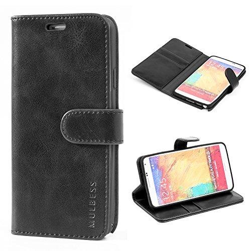 Mulbess Ledertasche im Ständer Book Case / Kartenfach für Samsung Galaxy Note 3 Tasche Hülle Leder Etui,Schwarz