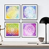 PACK von Blättern, um JUGEND zu gestalten. Quadratische Poster mit Bildern von Mandalas. Inneneinrichtung. Rahmen zum Rahmen. Papier 250 Gramm hohe Qualität