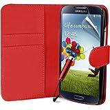 Rot Supergets Hülle für das Samsung Galaxy S4 I9500 Buchstil Klapptasche in Lederoptik Etui Flip Case, Folie, Reinigungstuch, Mini Eingabestift