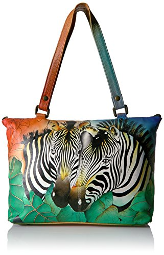 Anna by Anuschka Damen Umhänge-Handtasche, Zbs-Zebra Safari, Einheitsgröße - Zebra Hobo Handtasche
