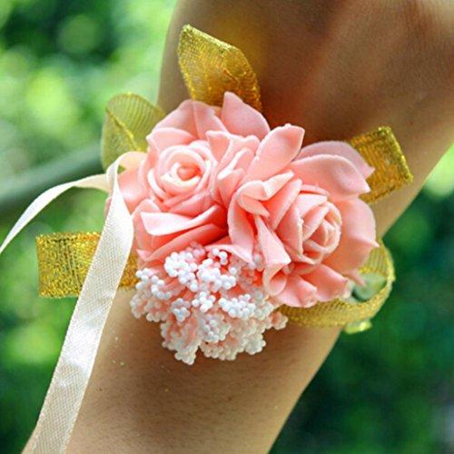 Hearsbeauty bouquet da polso con rose, fiori, in schiuma, da sposa e damigella, per festa di nozze, braccialetto con nastri light pink