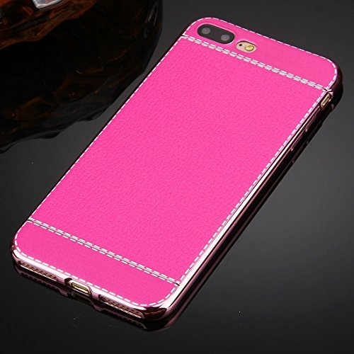Für iPhone 7 Plus 3D Litchi Texture Soft TPU Schutzhülle DEXING ( Color : Red ) Magenta