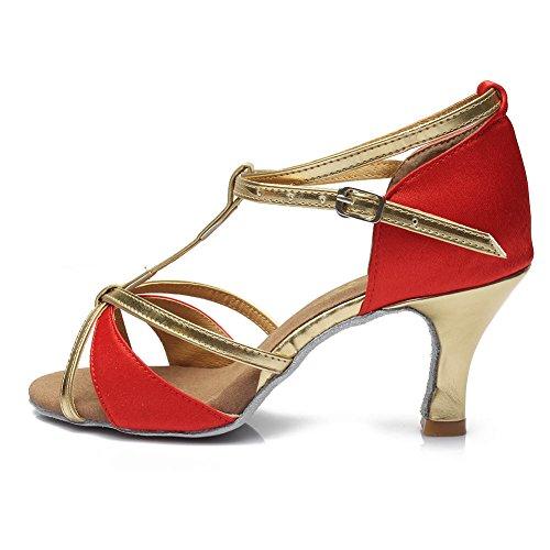 HROYL Donna I7-255 Raso Scarpe da Ballo Latino/Modern/Jazz/Latino/ChaCha/Samba Ballroom 7CM Rosso