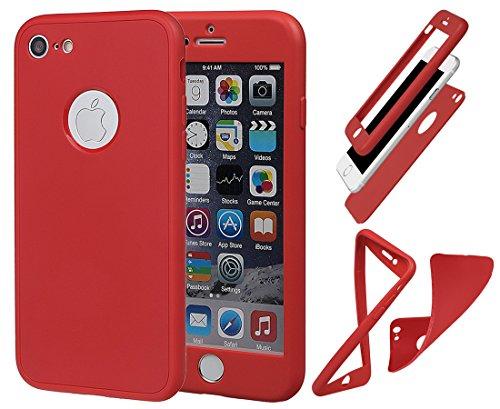 """Hülle für iPhone 7/8, xhorizon Stoßfeste weiche Schutzhülle aus 360 Grad ultradünner und zweischichtiger TPU für volle Deckung für iPhone 7 / iPhone 8 [4.7""""] mit gehärtetem Glass Screen Protector Rot"""