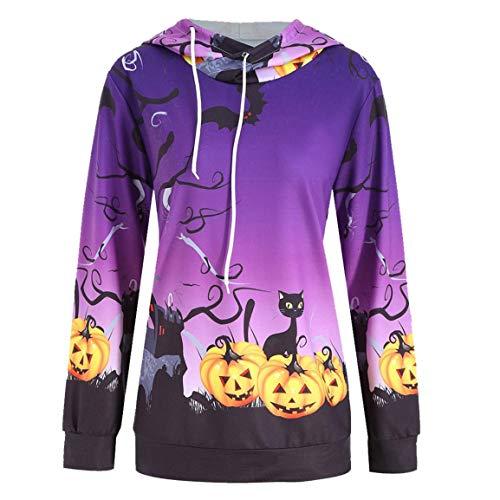 Moonuy Frauen Long Halloween Pullover Damen Hoodies Kürbis Teufel Slim Sweatshirt Pullover Hoodie Tops Bluse Shirt
