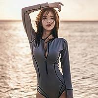 Petite femelle poitrine manches longues maillot de bain lits jumeaux conservateur maillot femme sun