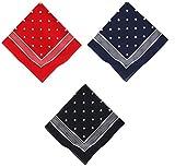 Betz Nickituch Bandana klassischem Punktemuster 55 x 55 cm in den Farben rot, marine und schwarzblau Farbe rot