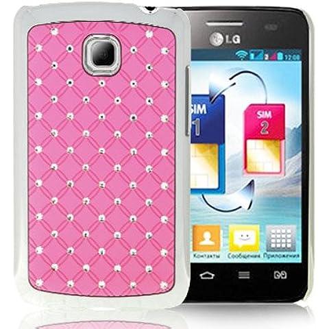 Luxury Bling Diamond Plating Skinning Funda Case Funda Para LG Optimus L3 II E340 (Pink)