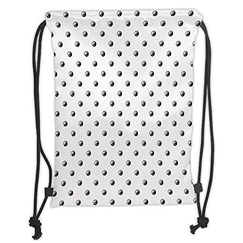 Icndpshorts Drawstring Backpacks Bags,Ying Yang,Polka Dots Yin Yang Patterns Universal Duality Between Good and Bad Concept,White Black Soft Satin,5 Liter Capacity,Adjustable String Closure,Th