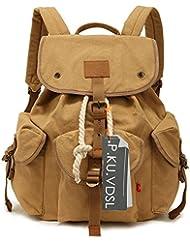 P.KU.VDSL® retro informal lienzo cuero mochila unisex bolso de bandolera multi-función alpinista mochila bolsa para la escuela mochila de viaje morral del ordenador portátil