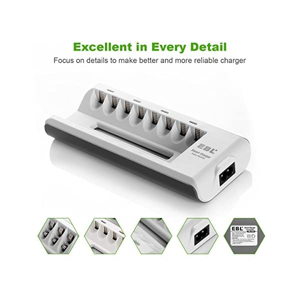 EBL Batteries with Charger, 808 AA AAA Battery Charger with 2800mAh AA Rechargeable Batteries (4 Pack) and 1100mAh AAA… 7