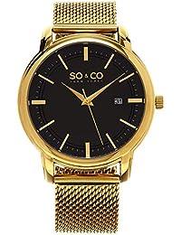 So y de Nueva York Madison Co para hombre reloj infantil de cuarzo con esfera analógica y dorado correa de acero inoxidable de 5207,5