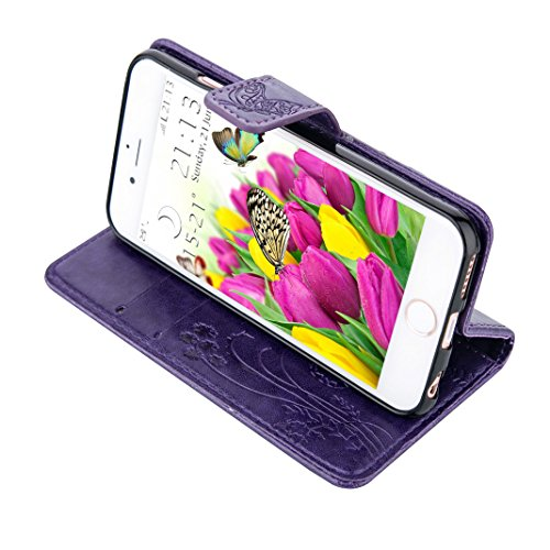 iPhone SE Flip Cover, iPhone 5 Handyhülle, iPhone 5S Case,Moon mood® Flip Case Brieftasche für Apple iPhone 5/5S/SE (4.0 Zoll) ,PU Leder Hülle Wallet Case Folio Schutzhülle Scratch Design Bumper Handy 1-Lila