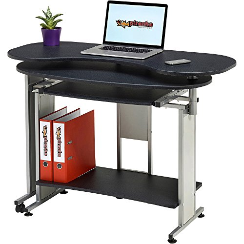 Compact Folding Computer and Writing Desk with Sliding Keyboard Shelf in Graphite Black Effect for Home Office – Piranha Mako PC 3g