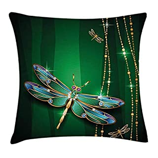 Dragonfly Throw Pillow Cushion Cover, Elegance Vivid Figures in Gemstone Crystal Diamond Featured Artsy Effects, Decorative Square Accent Pillow Case, 18 X 18 Inches, Gold Hunter Green