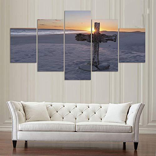 WODES Wohnkultur Zimmer Poster Hd Print 5 Panels Düne Auf Dem Kreuz Seascape Landschaft Leinwand Wandkunst Bild 30 * 40 * 2 30 * 60 * 2 30 * 80Cm Kein Rahmen -