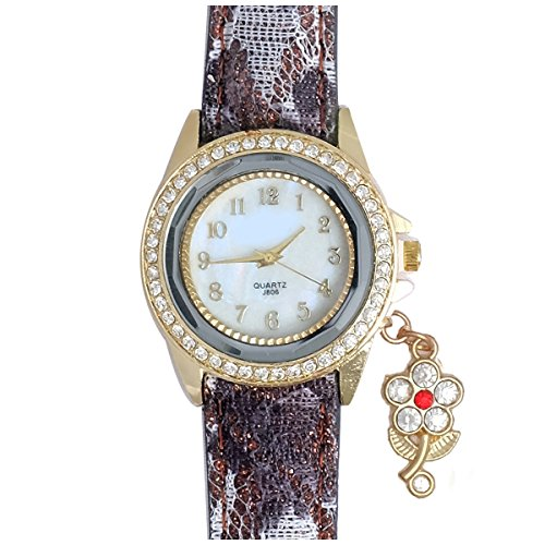 Super Drool ST2460_WT_FLOWER_3 Floral Charm Analog Watch For Girls