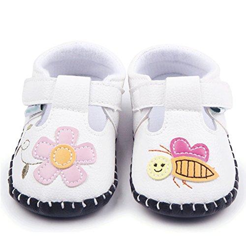 YOUJIA Unisex Baby Sandalen Neugeborenen Sandale Schuhe Rutschfest Ersten Wanderer Sommerschuhe Weiß