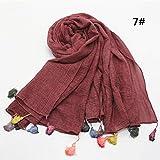 TLXOZ Foulard Femmes Linge de Maison Ethnique Oversize Hijab écharpe Couleur Unie Crinkle Coton Châle Bonbons Couleur Gland Écharpes