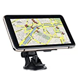 "7"" LCD Touchscreen Truck Car GPS Navigation System 8GB FM MP3 MP4 SAT NAV Navigator Video Player Free UK&EU Maps + Car Bracket (Golden)"