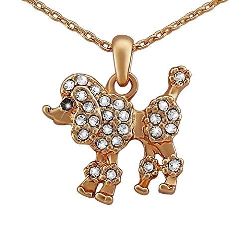 Hanessa Damen-Schmuck goldene Hals-kette Pudel-Anhänger Rosé-Gold Vergoldet mit Strass-Steinen Hund Geschenk für die Ehe-Frau / Freundin / (Mädchen Pudel)