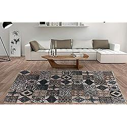 Alfombra Moderna Algodón Lavable Estampada Mosaico Marrón (Varias medidas) 160 x 230 cm