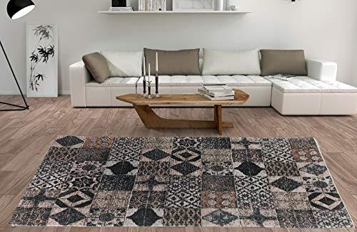 De'Carpet Alfombra Salón Dormitorio Moderna Algodón Lavable Estampada Mosaico Marrón 60x110cm