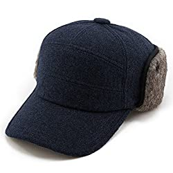 SIGGI Winter Warme Baseballkappe Ohrschutz Schirmmütze Herren Schwarzblau M