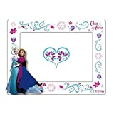 Bilderrahmen / Holzrahmen / Fotorahmen Disney Frozen mit ELSA und Anna in weiß mit Blumenranken