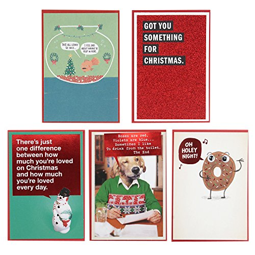 Hallmark Shoebox Funny Christmas Cards Assortment (5 Cards with Envelopes)