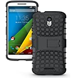 MACC Defender Series Dual Layer Hybrid TPU + PC Kickstand Case Cover for Moto X Play (Black) - Black