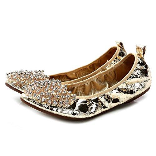 AalarDom Femme Tire Pointu Non Talon Matière Souple Chaussures à Plat Doré-Chaîne Perle