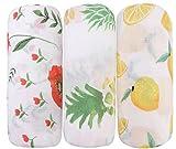 Little Jump Baby Musselin Swaddle Decke Tücher - 120x120 cm 3 Stück (Blumen & Ananas & Zitrone) 120x120 cm Baby Bambus Baumwolle Swaddle Wrap, Aufstoßen Tuch, Pucktücher für Junge und Mädchen