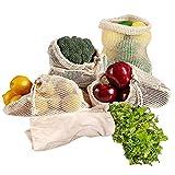 KINDPMA 5Pcs SacCotonBio SacLegumesReutilisable SacaFruit Ecologiques pour Les Courses des Alimentaires en Vrac, Sac Filet Respirant pour L'épicerie (1×S, 2×M, 1×L, 1×Sac en Tissu Coton)