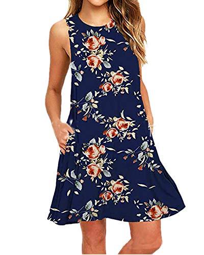 Kidsform Damen Sommerkleider Knielang Blumen Kurz Minikleid Sommer Kleider T-Shirtkleid Casual Tops Marine EU36/Etikettgröße S Blume Kleid Kleider