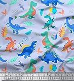 Soimoi Blau Baumwolljersey Stoff Ballon & Dinosaurier Kinder Stoff Meterware 58 Zoll breit