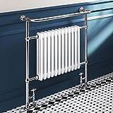 952 x 839 Large Traditional White Radiator Heated Victorian Chrome Towel Rail