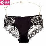 RRRRZ*cómodo no marca 3 Sra. underwear, de baja altura, de encaje transparente BUSTIERS más cortos de algodón puro ,L, documento negro