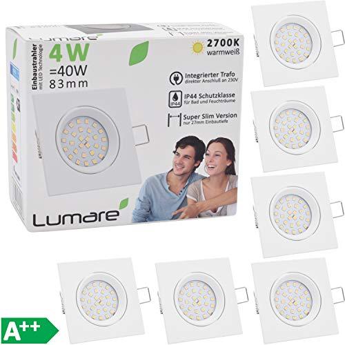 Lumare Slim Line Einbauspot IP44 mit nur 27mm Einbautiefe!   Deckenspot mit integriertem austauschbarem 4W 400 Lumen LED Leuchtmittel AC 230V 120° Deckenlampe Einbauspot warmweiß (6er weiß/eckig)