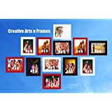 Small Personalized Photo Frame Wall Hanging Collage || Set Of 12ps With Personal Picture || Multi Color Black Red And White || Photo Size : 4x6inch ; Outer Frame Size : 6x8inch ||