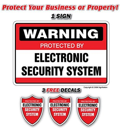 SECURITY SYSTEM SIGNS ~1 Sign & 3 Free Decals~ alarm by SignMission