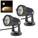 2 x Spot COB 5w LED Gartenleuchte, 3000k Warmweiß, 220V, 400 Lumen, Wasserdicht IP65, LED Gartenbeleuchtung, Garten Scheinwerfer, LED Rasen Licht, LED Lawn Licht, Spotbeleuchtung, Bodenleuchte, Teichstrahler