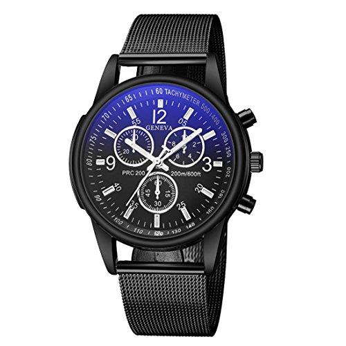 Keepwin Art Und Weiseeinfache Herrenuhr, Blaues Ray Glas Edelstahl Band Bügel Quarz Analoge Uhren (Multicolor B)