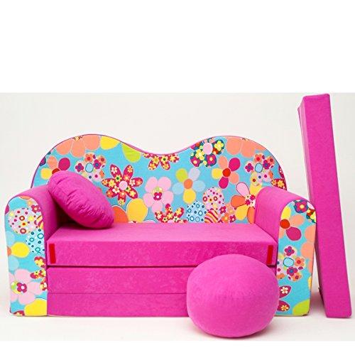 Barabike H13-a Bébés pour Enfants Mini Canapé bébé Canapé lit Pouf Lot de 3 en 1 d'oreillers en Mousse