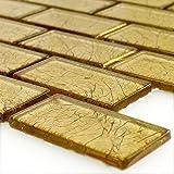 Glas Mosaikfliese Brick Crystal Gold Struktur | Wandfliesen | Mosaik-Fliesen | Glasmosaik | Fliesen-Bordüre | Ideal für die Küche und Badezimmer (auch als Muster erhältlich)