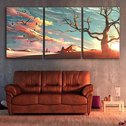 Ibuprofen Moderne Wohnzimmer Esszimmer Dekoration Malerei Stumm Uhr Leinwand Gemälde Triple Wanduhr Landschaft Serie Enthält Rahmen, Uhren und Gemälde, 3PCS, 40x60cm 60c-serie