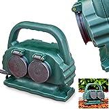 Außensteckdose Emmerleff aus Kunststoff in Grün, Gartensteckdose mit Erdspieß für den Aussenbereich, 4-fach Steckdose m....