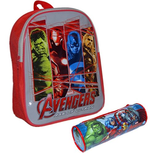MARVEL® Avengers Official Kids Children School Travel Rucksack Backpack Bag with Zip Tube Pencil Case Set