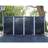 4–Cubo de basura Cajas Modelo No. 3antracita gris para cubos de basura 240Litros/Resistente a la intemperie con revestimiento de polvo/con Tapa y puerta delantera